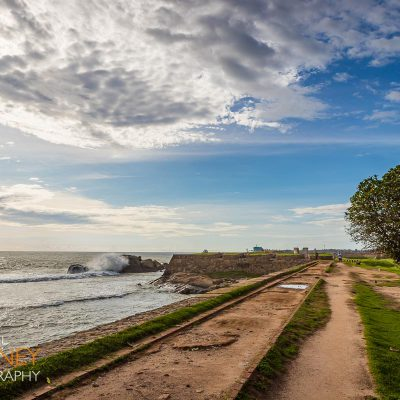 Waves crash right off the coast of the Galle Fort in Sri Lanka